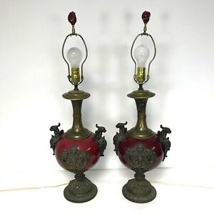 Pair Of Continental Oxblood Glaze Flambe Porcelain Table Lamps With Ormolu