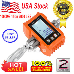 1000kg 1ton 2000 Lbs Digital Crane Scale Heavy Duty Hanging Scale Orange