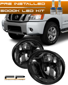 For 2004 2014 Nissan Titan Smoke Replacement Led Fog Light Housing Assembly Pair
