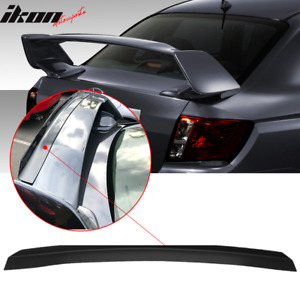 Fits 08 14 Subaru Wrx Sti Top Gurney Flap Add on Trunk Spoiler Wing Matte Black
