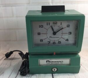 Acroprint Punch Date Time Recorder Electric Clock 25nr4 Tmeclock No Key