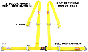 Yellow 4 Point Seat Belt Harness Pull Down Lap Belts