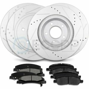 Front And Rear Discs Brake Rotors Ceramic Pad For 2006 2011 Cadillac Dts Slotted