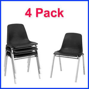 no Tax 4 Pack National Public Shell Stacking Chairs In Black