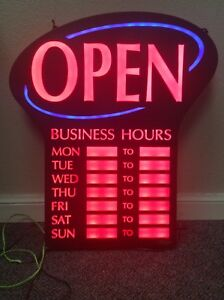 Newon Led Open Sign With Digital Business Hours 20 4