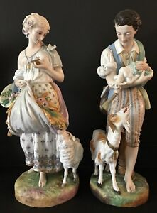 Antique French Vion Et Baury Pair Of Bisque Figurines Rare