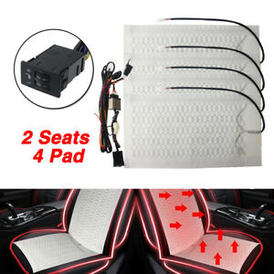 Car Winter Heated Cushion Seat Heater Warm Cover Carbon Fiber Pad switch Kit 12v
