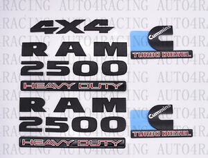 For Dodge Ram 2500 Grille Tailgate Cummins Turbo Diesel Emblem Badge Black 5 Pcs