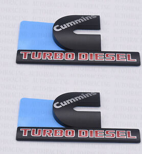 For Dodge Ram 2500 Grille Tailgate Cummins Turbo Diesel Emblem Badge Black 2 Pcs