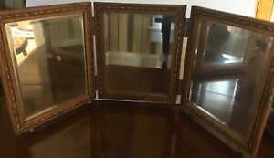Antique Tri Fold Vanity Wood Mirror Tooled Leather