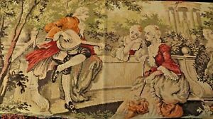 Large Old French Woven Jacquard Tapestry Wall Hanging 36 X 52 Courting Couples