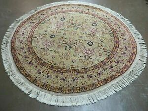 6 Hand Made Fine Persian Wool Rug Carpet Round Afshan Silk Accent Beauty