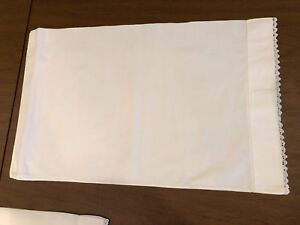 Antique Linen Child S Or Baby Pillowcase Hand Crocheted Lace Trim 22 By 14