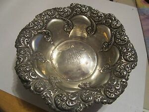Sterling Silver 925 Candy Nut Dish W Monogram