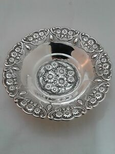 925 Sterling Silver Large Candy Dish Bowl With Floral Design On 3 Feet