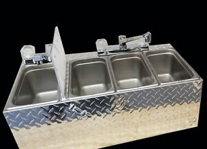 Small 4 Compartment Sink Food Cart Truck Trailer Alum Diamond Plate
