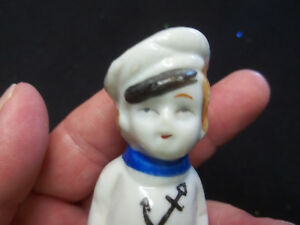 Antique Porcelain Blonde Sailor Boy Figurine Penny Doll 3 1 2 Made In Japan