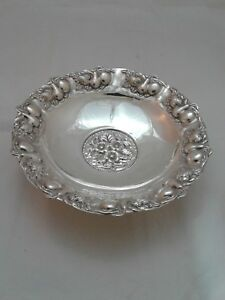 925 Sterling Silver Candy Dish Bowl With Floral And Fruit Design On 3 Feet