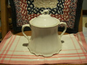 Homer Laughlin Vintage White Sugar Bowl With Lid Very Good Plus Condition