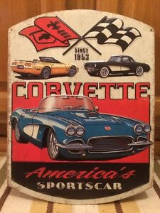 Chevrolet Corvette Vintage Style Metal Stingray Dodge Ford Garage Man Cave Chevy