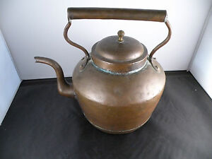 Antique French Large Copper Kettle Great Patina Old Hand Made 11 High