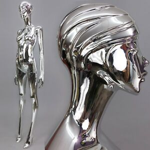 Silver Chrome Mirror Full Life Size Female Mannequin W Face Head Modernism Ooak