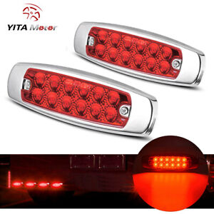 2x Red 6 2 Led Side Marker Light Clearance 12led Truck Trailer Stainless Lights