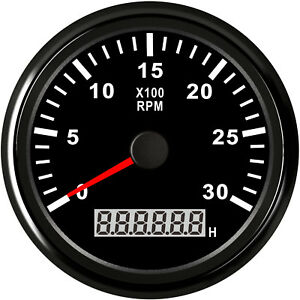 85mm Black Stainless Tachometer 3000 Rpm For Gasoline And Diesel Engine 8 32vdc