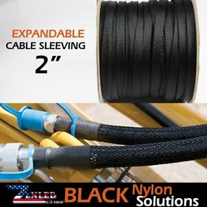 2 Black Nylon Expandable Braided Cable Sleeves For Connect Electric Wire 35ft