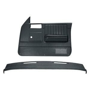 For Chevy S10 82 85 Black Dash Cover Door Panels Combo Kit No Power Windows