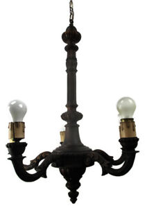 Hand Carved Ornate Wood Chandelier 5 Lights Arms Ceiling Light Lamp Mid Century