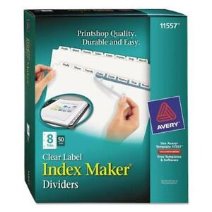 Avery 11557 Index Maker Clear Label Tab Dividers 8 tab White 50 Sets pack