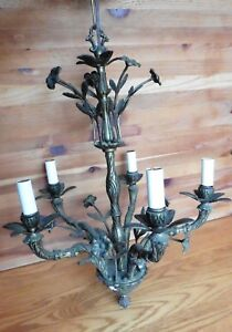 Chandelier Cast Brass Flowers Leaves Floral Hanging Candle Style 5 Arm Vintage