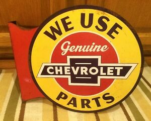 Chevrolet Genuine Parts 2 Sided Pub Style Flange Garage Man Cave Metal Signs