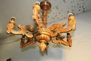 Xl 6lights Authentic Antique Vintage French Wood Carved Chandelier Castle L94