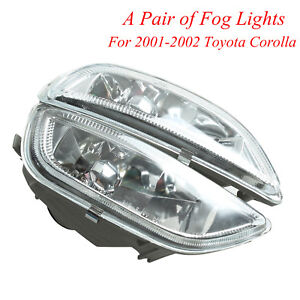 For Toyota Corolla 2001 2002 Front Bumper Glass Driving Fog Lights Lamps Rh Lh