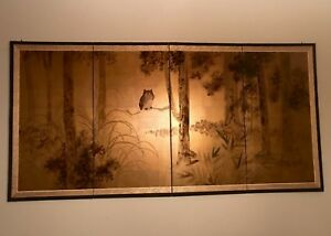 Hand Painted Gold Leaf Silk Japanese 4 Panel Screen Made In Kyoto Owl