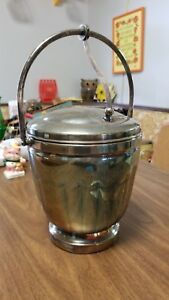 Sheffield Silverplate Ice Bucket With Hinged Lid Thermos Insulator