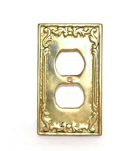 Vintage Wall Plate Two Outlet Cover Solid Cast Metal Bronze Brass Antique Heavy