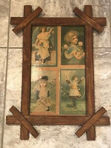 Antique Tramp Art Picture Frame Primitive Early 1900s