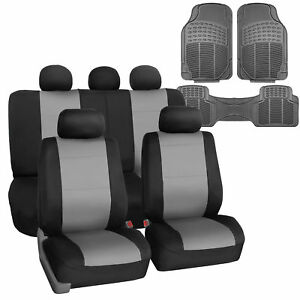 Car Seat Cover Neoprene Waterproof Pet Proof Full Set Cover Gray W floor Mats