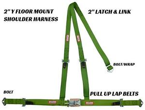 2 Latch Link Y Racing Harness 3 Point Seat Belt Lime Green Racerdirect