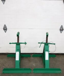 2 Greenlee 683 Pipe Stands For Cable Wire Tugger Puller Nice Condition Pair