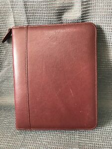 Classic Maroon Top Grain Leather Franklin Covey Quest Zip Planner Zip Around