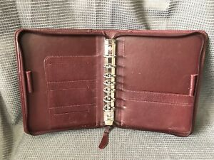 Classic Maroon Top Grain Leather Franklin Covey Quest Zip Planner Binder