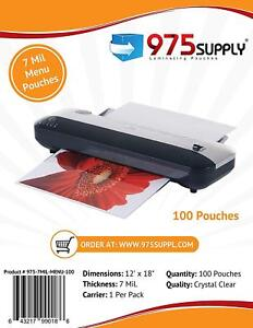 975 Supply 7mil Menu Thermal Laminating Pouches 12 X 18 Clear 100 Pouches