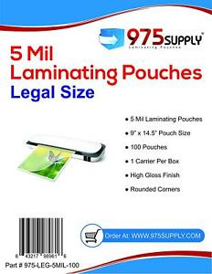 975 Supply 5 Mil Legal Laminating Pouches 9 X 14 5 Clear 100 Pouches