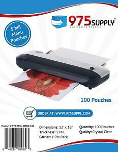 975 Supply 5mil menu Thermal Laminating Pouches 12 X 18 Clear 100 Pouches