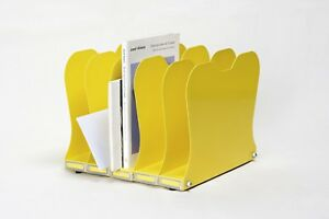 1940s Desktop Memo File Holder Refinished In Yellow Free Shipping