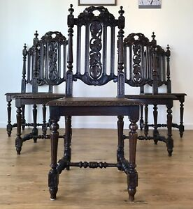 Hand Carved Spanish Revival Gothic Throne Chairs